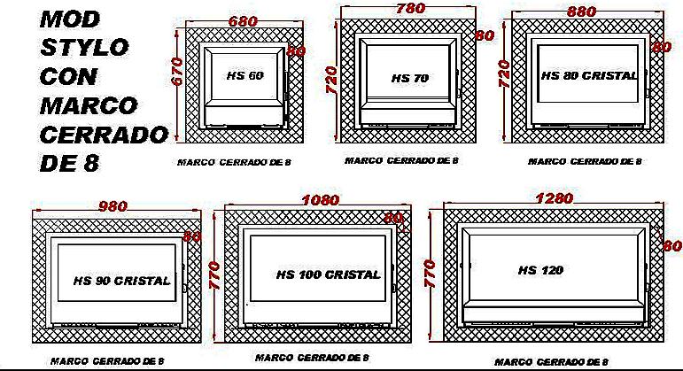 Marco cerrado pintado de 8 para chimeneas modelo stylo mc for Puerta 8 san marcos